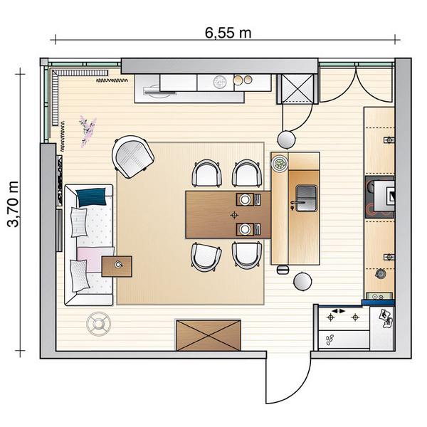Планировка кухни гостиной