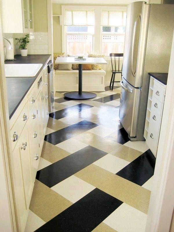 Дизайн пола в кухне