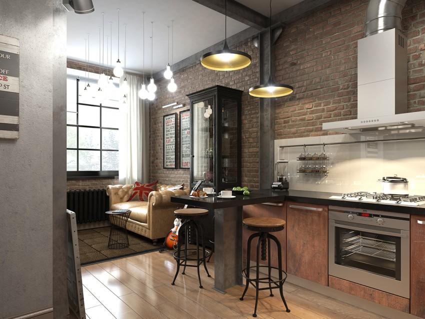 Кирпичная кухня - стильные и современные идеи оформления в виде кладки (90 фото)