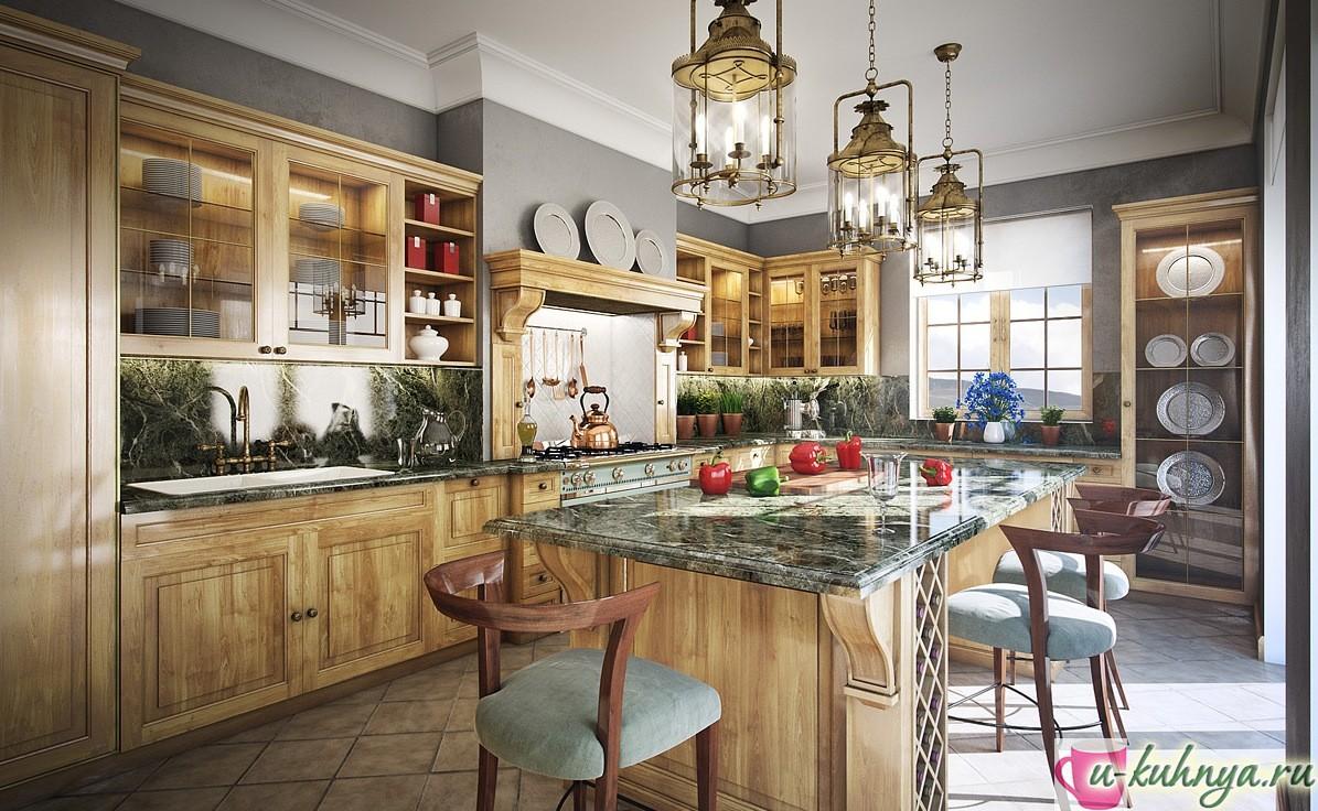 дизайн темной кухни в классическом стиле