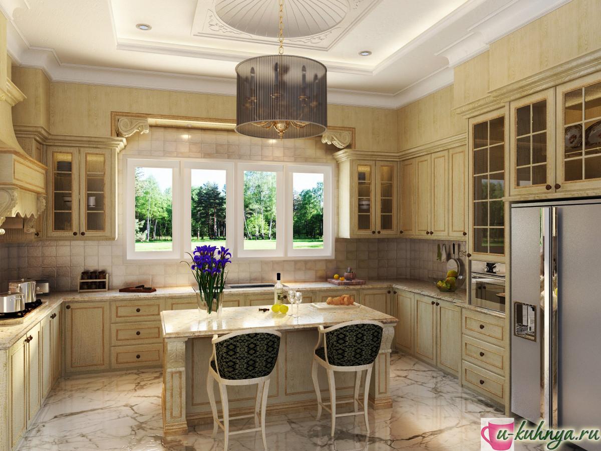дизайн интерьера кухни классический стиль