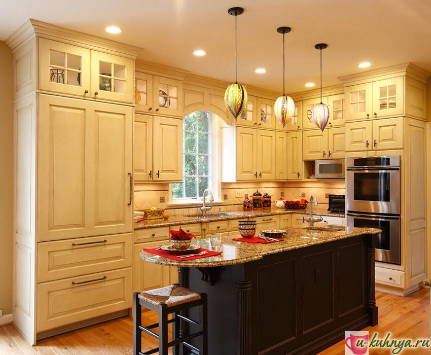 дизайн кухни столовой в классическом стиле
