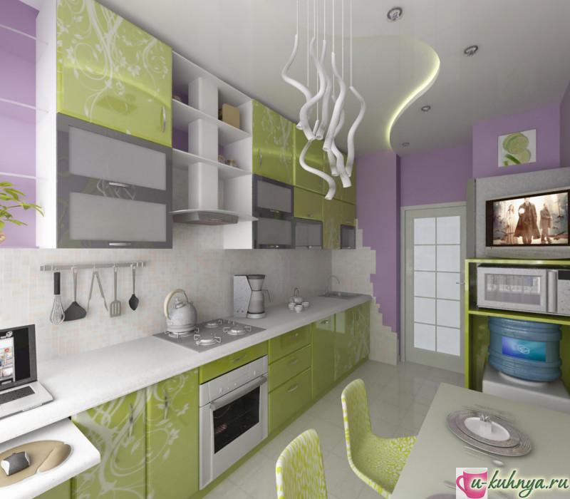 кухня с зеленым фартуком