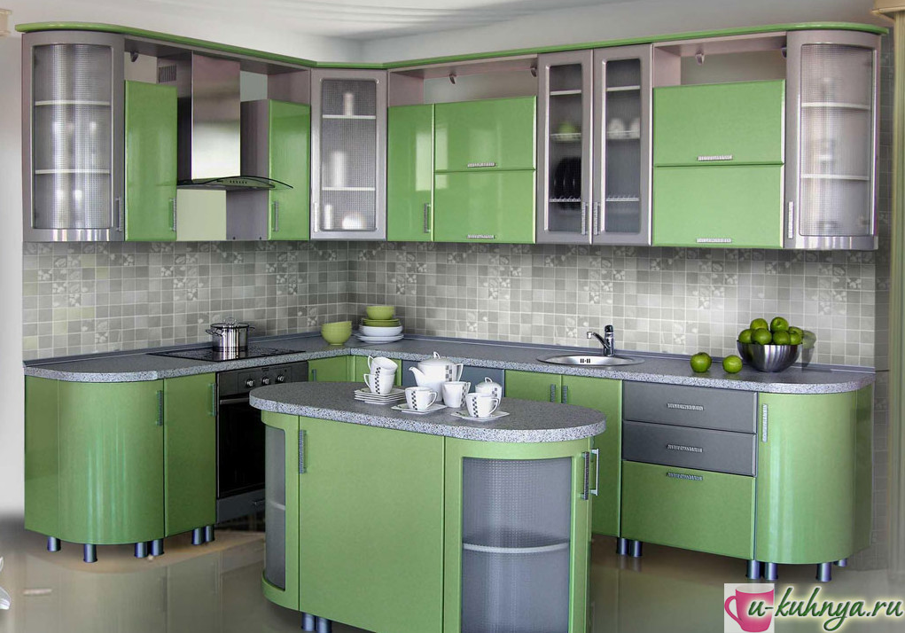 серо зеленая кухня