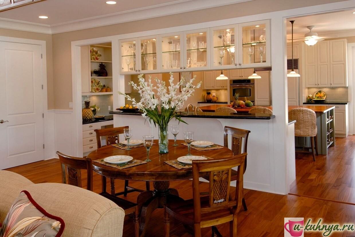 интерьер и планировка кухни столовой